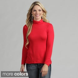 24/7 Comfort Apparel Women's Basic Top Turtleneck T Shirt