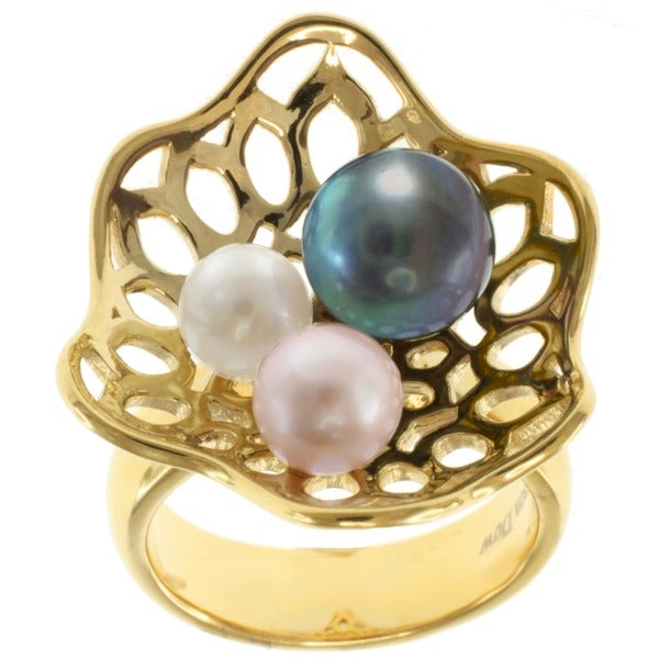 Michael Valitutti Jason Dow Two-tone Multi-colored Pearl Ring (5-8 mm)