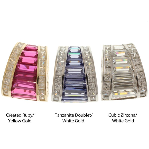 Michael Valitutti Signity 14k Gold CZ, Tanzanite or Created Ruby Pendant