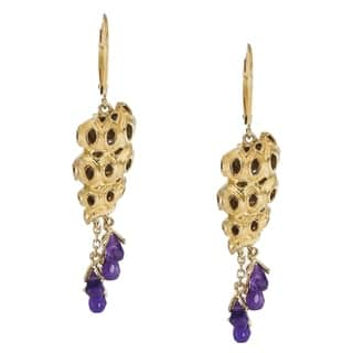 Michael Valitutti Jason Dow Sterling Silver Amethyst Briolette 'Sea Shell' Earrings|https://ak1.ostkcdn.com/images/products/7472347/P14919525.jpg?impolicy=medium