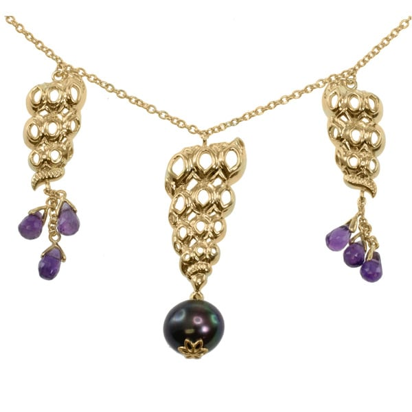 Michael Valitutti Jason Dow Two-tone Black Pearl and Briolette Amethyst Necklace (10 mm)