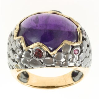 Michael Valitutti Two-tone Amethyst, Garnet and Ruby Ring