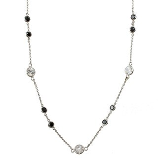 Michael Valitutti 14k White Gold Black and White CZ Station Necklace
