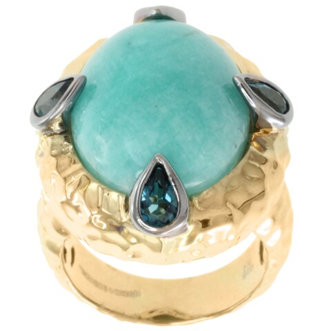 Valitutti 18k Yellow Gold over Silver Cabochon Amazonite with Pear-shaped Blue Topaz Ring