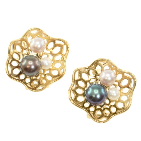 Michael Valitutti/ Jason Dow Gold over Silver Pearl Earrings (4-8 mm)