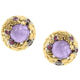 Michael Valitutti Two-tone Amethyst, Garnet and Ruby Earrings