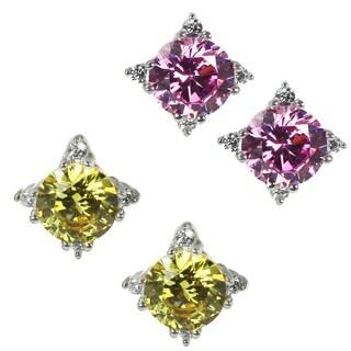 Michael Valitutti 14k White Gold Yellow/Pink Cubic Zirconia Earrings