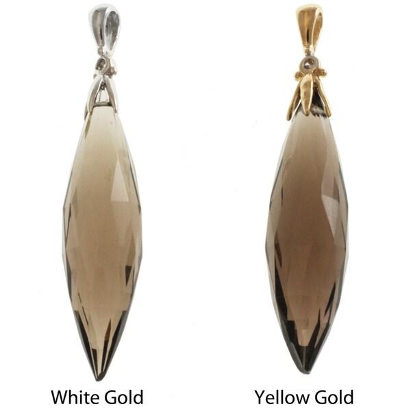 Michael Valitutti Signity 14k Gold Smokey Quartz and Diamond Pendant