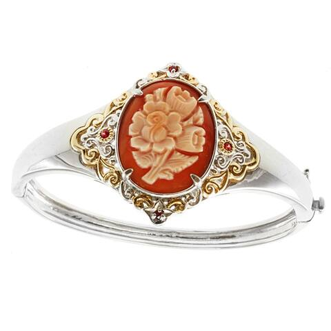 Gems en Vogue Palladium Silver Flower Cameo and Orange Sapphire Bangle