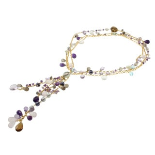 Michael Valitutti/ Colette Multi-gemstone and Pearl Necklace (7-13 mm)