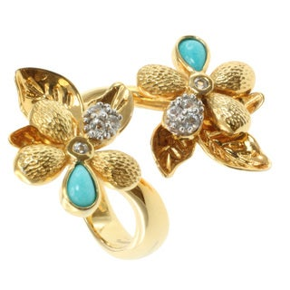 Michael Valitutti/ Colette Gold over Silver Turquoise and Sapphire Ring