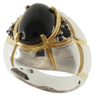 Michael Valitutti Two-tone Star Diopside, Black Spinel and Sapphire Ring
