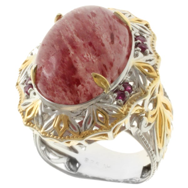 Michael Valitutti Two-tone Sunstone and Ruby Ring