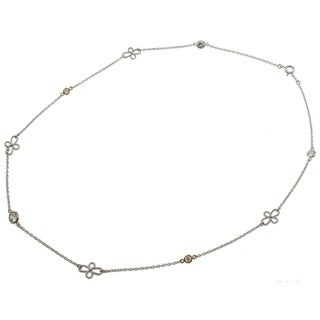 Michael Valitutti 14k Gold and Silver Cubic Zirconia Necklace