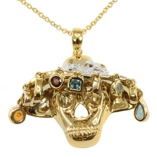 Michael Valitutti/ Colette Multi-gemstone 'Skull' Necklace