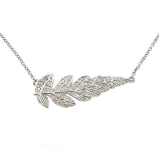 Michael Valitutti Colette Diamond Accent 'Feather' Necklace (1/5ct TDW)|https://ak1.ostkcdn.com/images/products/7472455/7472455/Michael-Valitutti-Colette-Diamond-Accent-Feather-Necklace-I1-I2-1-5ct-TDW-P14919625.jpg?impolicy=medium