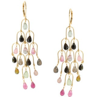 Michael Valitutti Kristen Gold over Silver Tourmaline Earrings