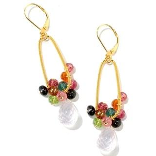 Michael Valitutti Kristen Rose Quartz and Multi-colored Tourmaline Earrings