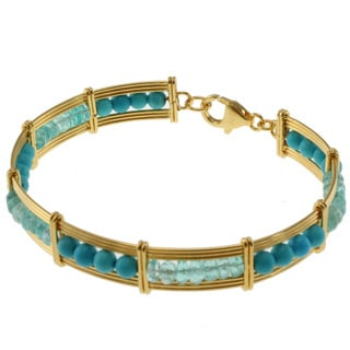Michael Valitutti Kristen Gold over Silver Apatite and Turquoise Bracelet
