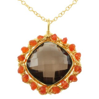 Michael Valitutti Kristen Smokey Quartz and Carnelian Pendant