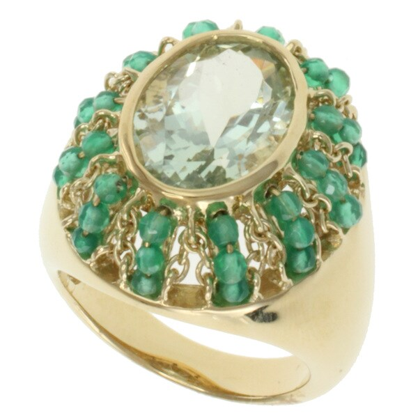 Michael Valitutti Kristen Green Amethyst and Agate Ring
