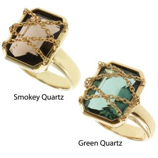 Michael Valitutti Kristen Gold over Silver Green or Smokey Quartz Ring