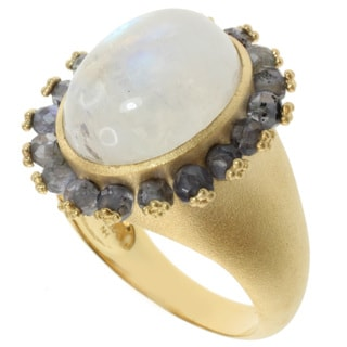 Michael Valitutti Kristen Gold over Silver Moonstone and Iolite Ring