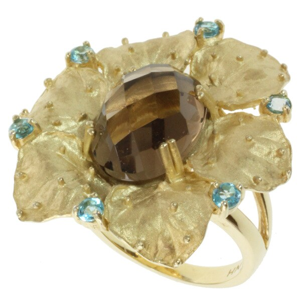 Michael Valitutti Kristen Smokey Quartz and Swiss Blue Topaz Ring