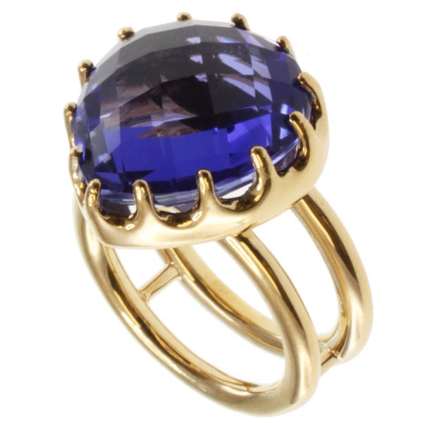 Michael Valitutti Colette Gold over Sterling Silver Tanzanite Quartz Ring