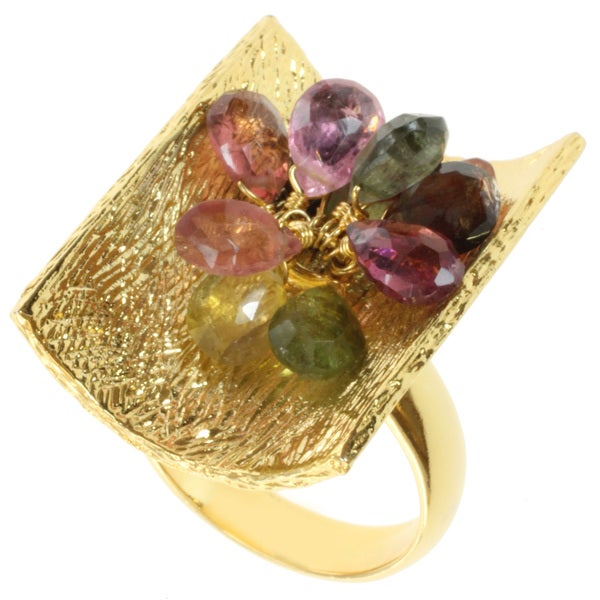 Michael Valitutti Kristen Gold over Silver Multi-colored Tourmaline Ring