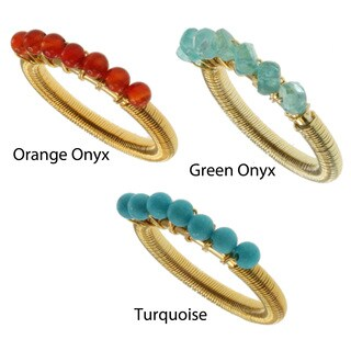 Michael Valitutti Kristen 18k Yellow Gold Overlay Sterling Silver Gemstone Bead Wire-wrap Ring (More options available)