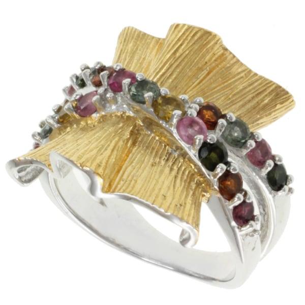 Michael Valitutti Kristen Gold over Sterling Silver Tourmaline 'Ribbon' Ring