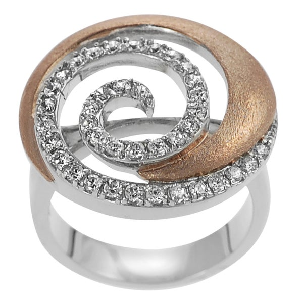 Journee Collection Two-tone Rose Gold-plated Silver CZ Mod Spiral Ring