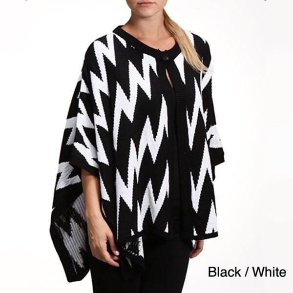 Tabeez Women's Zig-zag Poncho Sweater