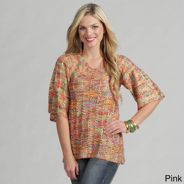 Tabeez Women's Space Dye Gold Lurix Tunic Sweater