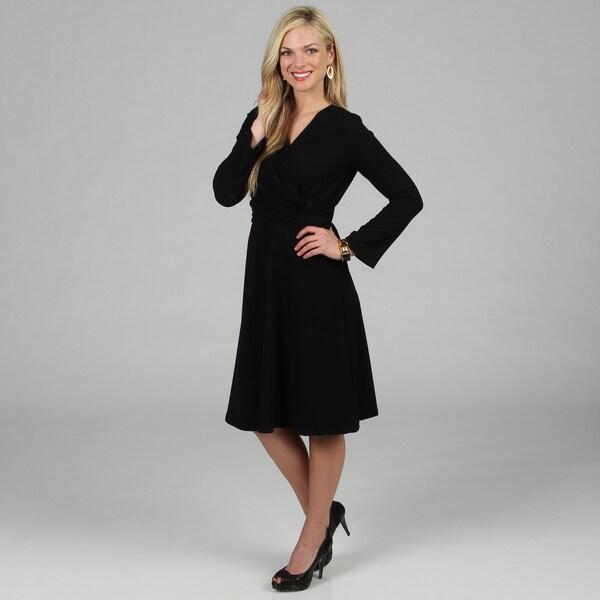 Women's Black Mock Wrap Dress