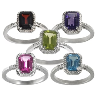 Journee Collection Sterling Silver Gemstone and Diamond Accent Ring