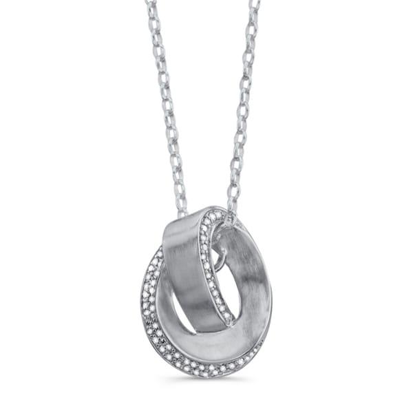 Victoria Kay Sterling Silver Diamond Love Knot Swirl Necklace