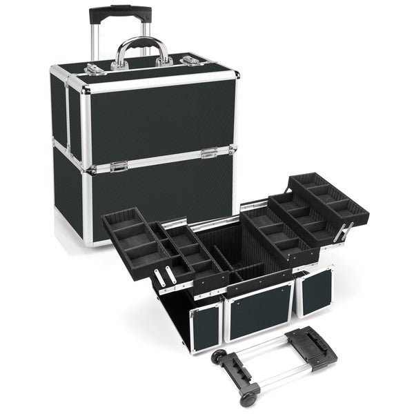 Seya Black Aluminum Rolling Makeup Case with Detachable Trolley