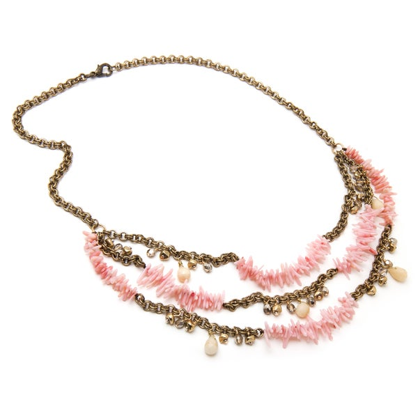 Alex Rae by Peyote Bird Designs Three Row Chain and Pink Coral Necklace
