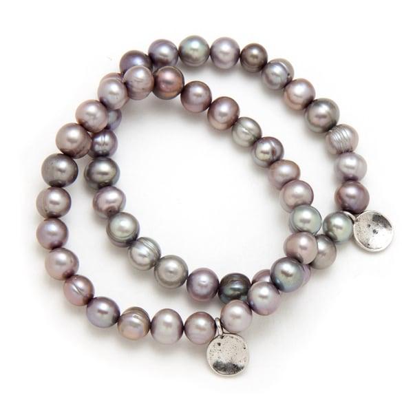 Alex Rae by Peyote Bird Designs Grey Pearl with Charm Stretch Bracelet