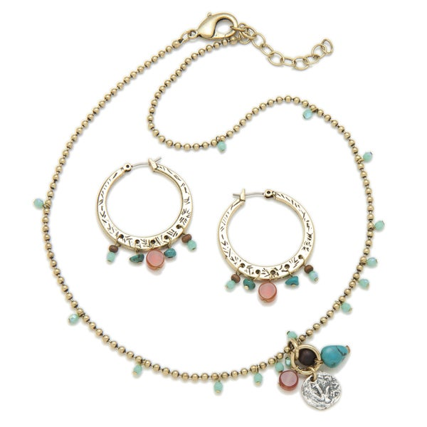Alex Rae by Peyote Bird Designs Chain with Charms and Beads Necklace and Earring Set