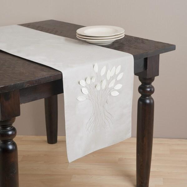 Kitchen Linens Oyster Color Leaf Design Runner