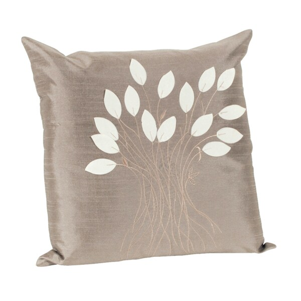 Leaf Design Khaki Decorative Throw Pillow