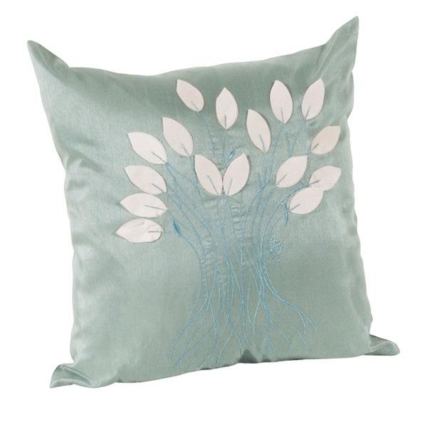 Leaf Design Aqua Decorative Throw Pillow