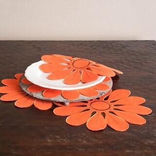 Flower Design Persimmon Doilies (Set of 4)