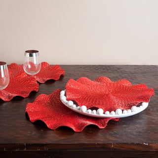 Ruffled Red Placemats (Set of 4)