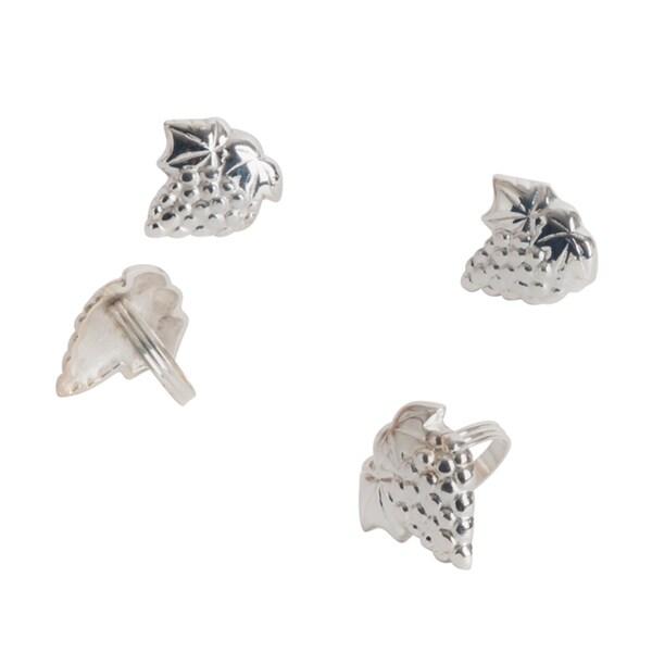 Grape Leaf Design Napkin Rings (Set of 4)