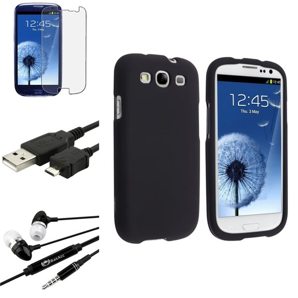 INSTEN Black Phone Case Cover/ Screen Protector/ Headset/ USB for Samsung Galaxy S3