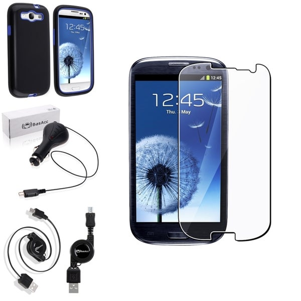 BasAcc Hybrid Case/Screen Protector/Charger for Samsung Galaxy S3